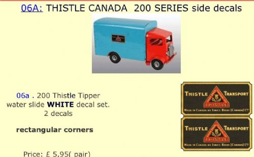 06A: THISTLE CANADA  200 SERIES side decals